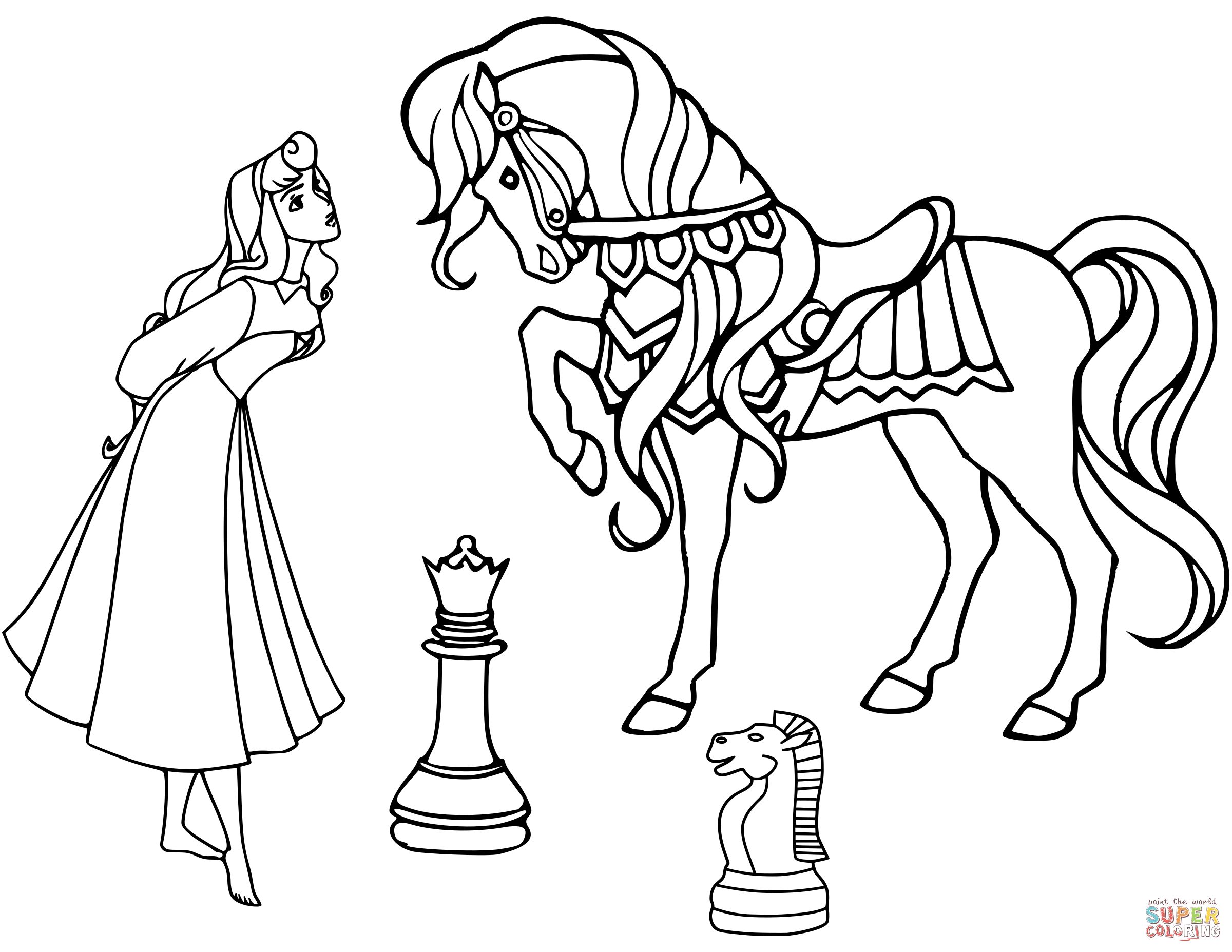 2400x1855 Dama And Horse Chess Pieces Coloring Page Free Printable