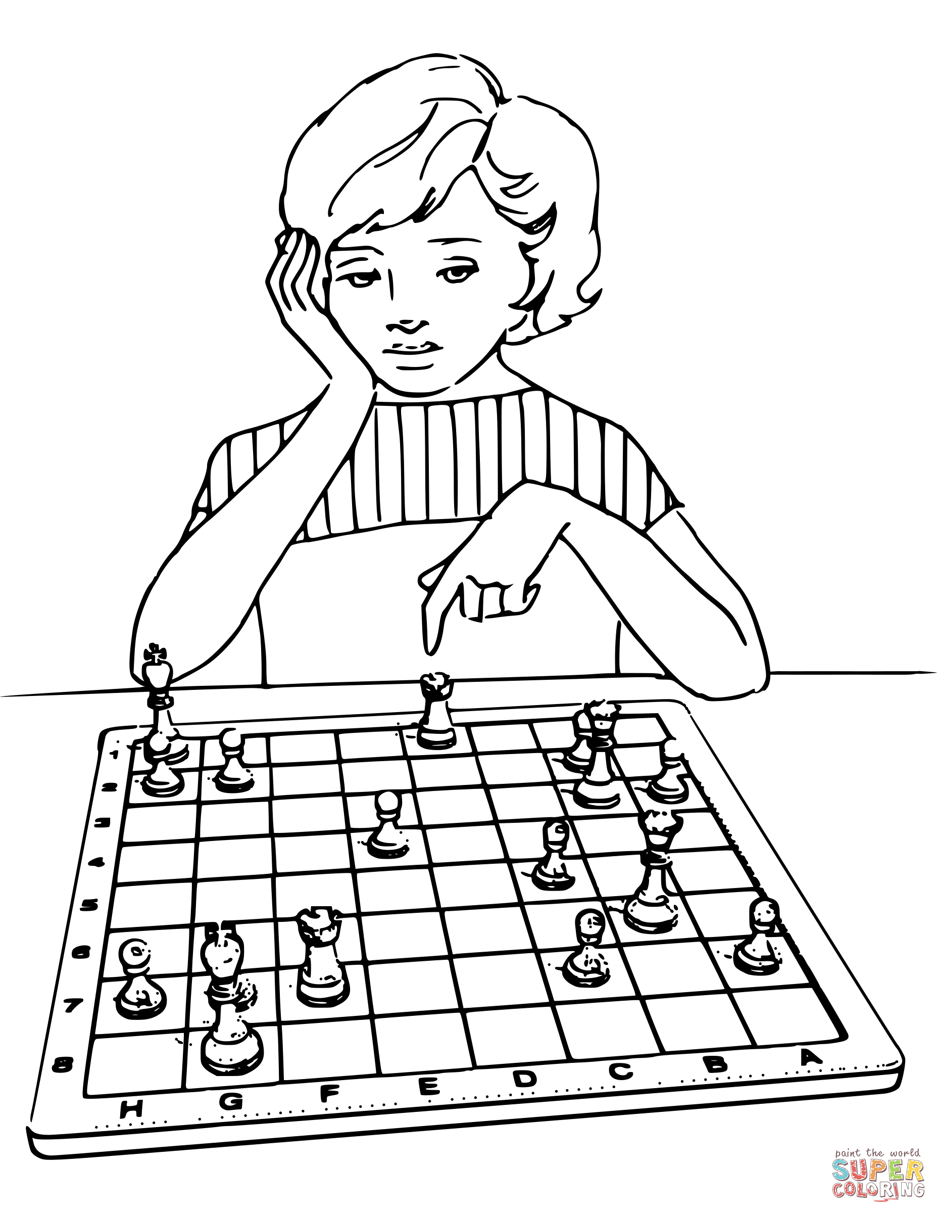 1855x2400 Girl Playing Chess Coloring Page Free Printable Coloring Pages