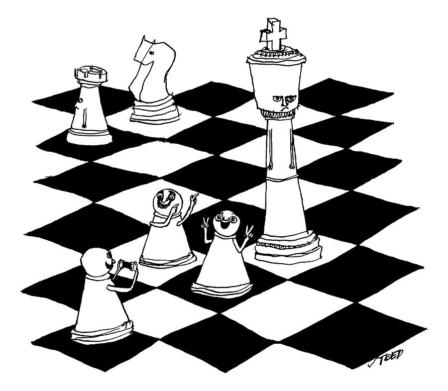 900x786 On A Chessboard Drawing By Edward Steed