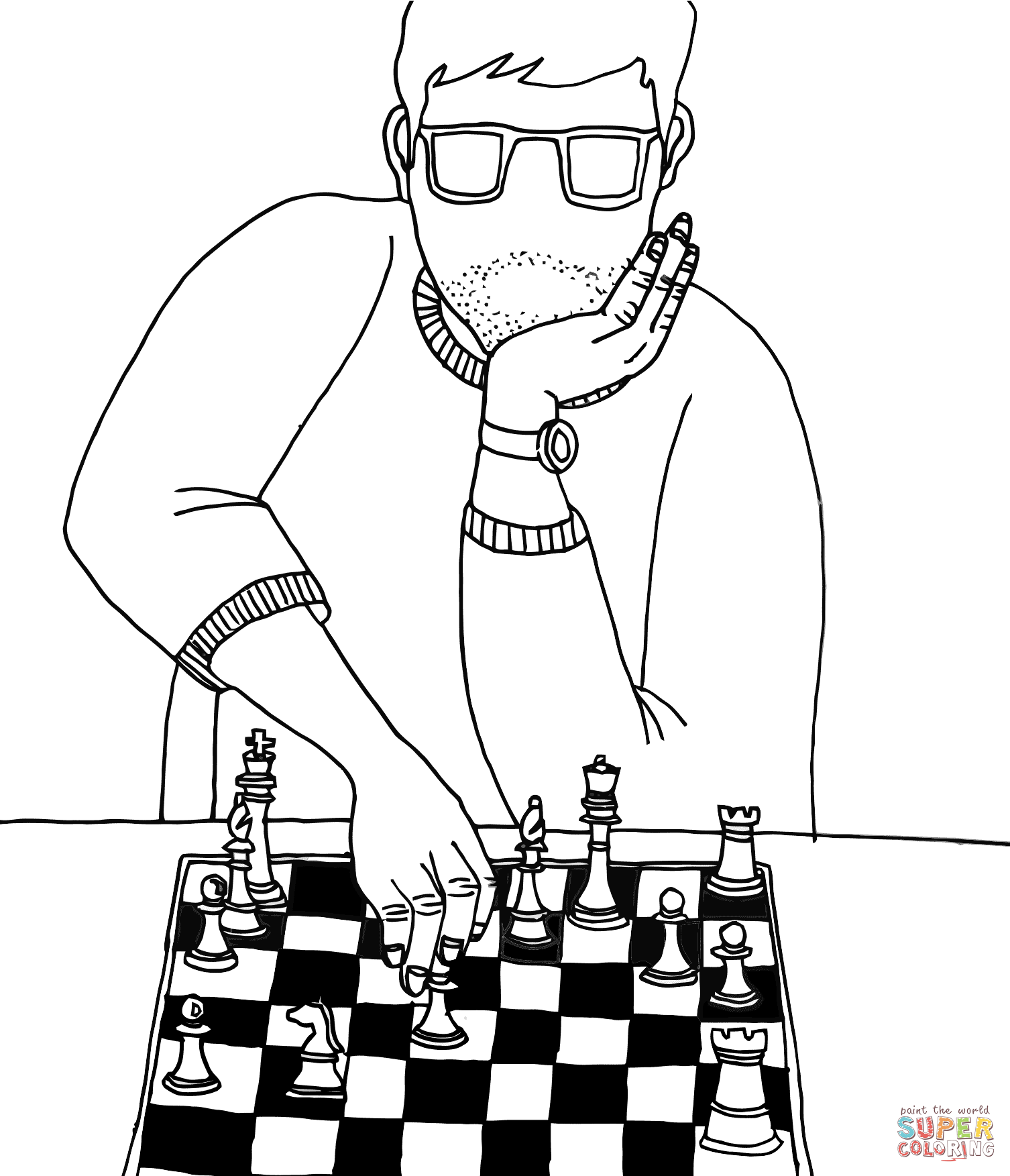 1506x1753 Playing Chess Coloring Page Free Printable Coloring Pages