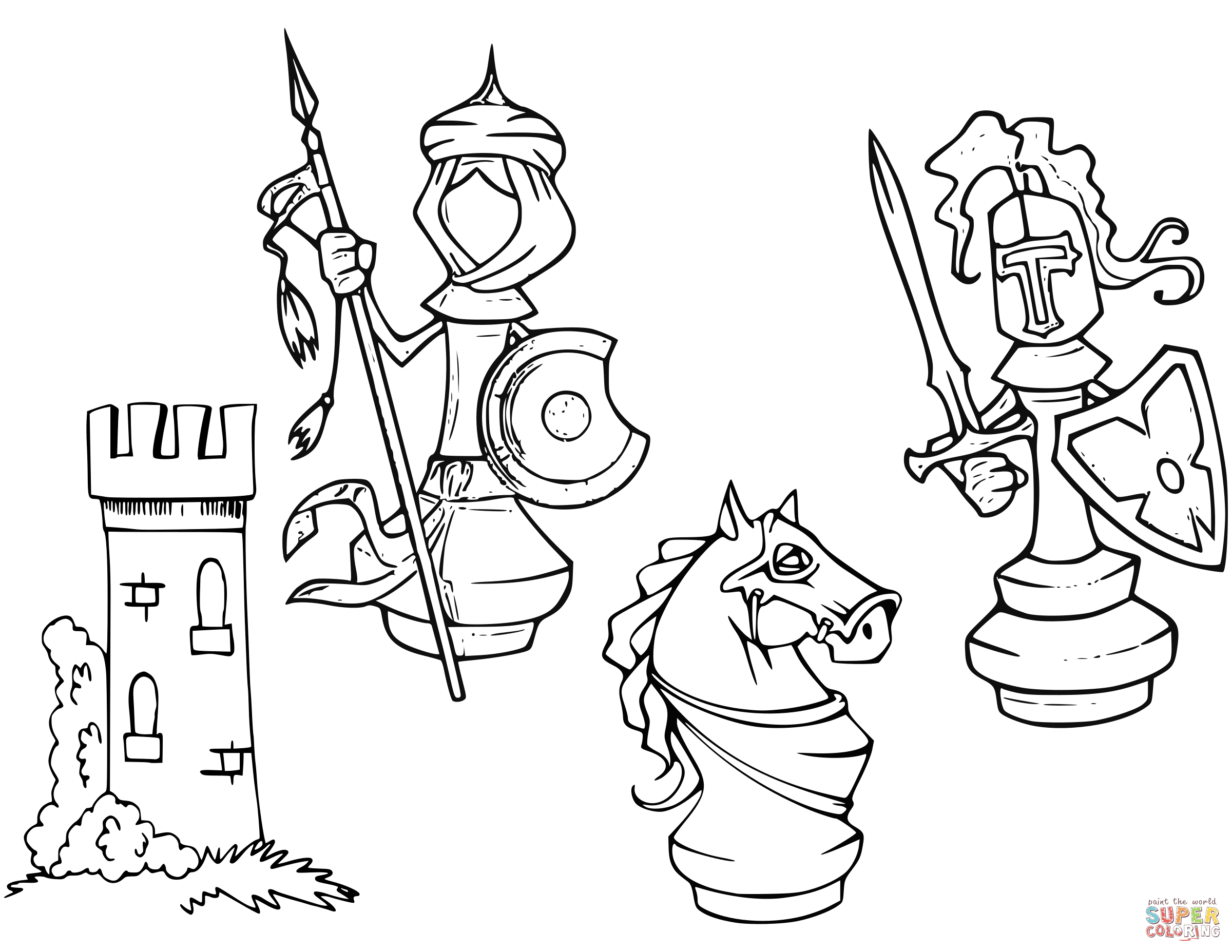 2400x1855 Cartoon Chess Pieces Coloring Page Free Printable Coloring Pages