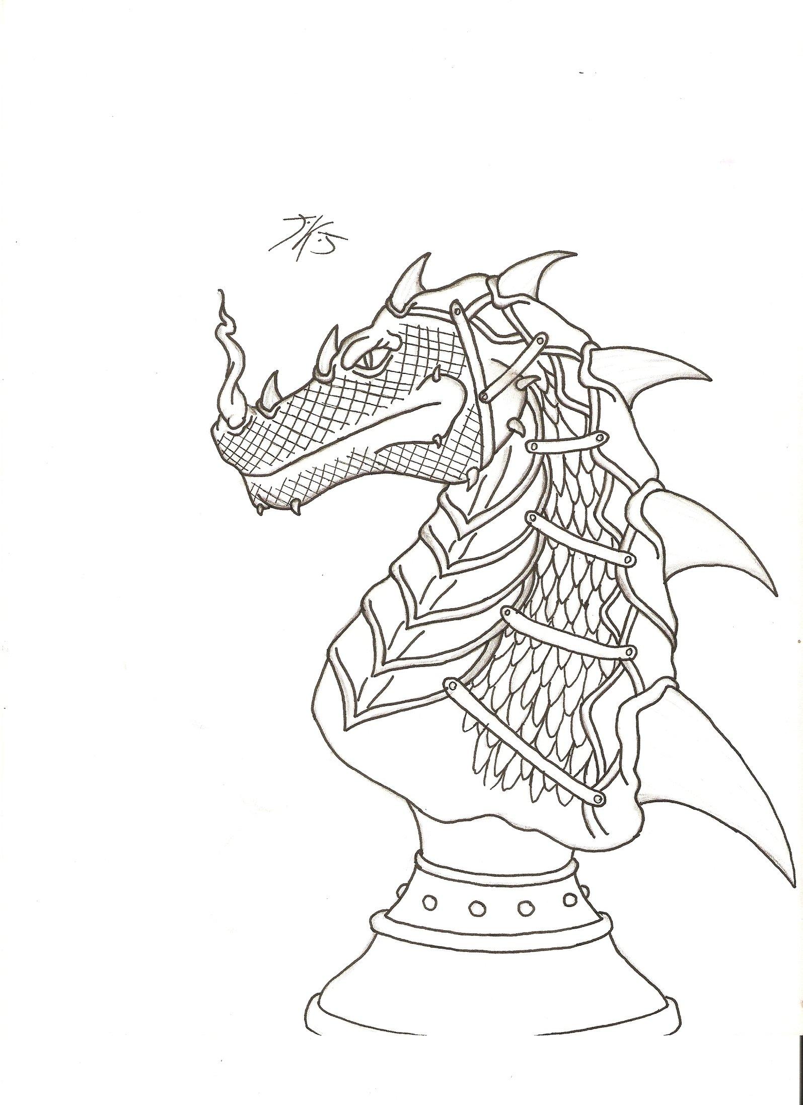 1595x2193 Dragon Chess Piece By Darkdreamsj