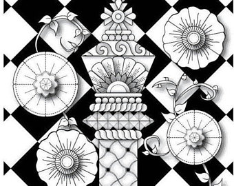 340x270 Fantasy King Chess Piece With Flowers And Vines Coloring Page For