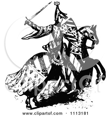 450x470 Clipart Vintage Black And White Medieval Knight On Horseback 2