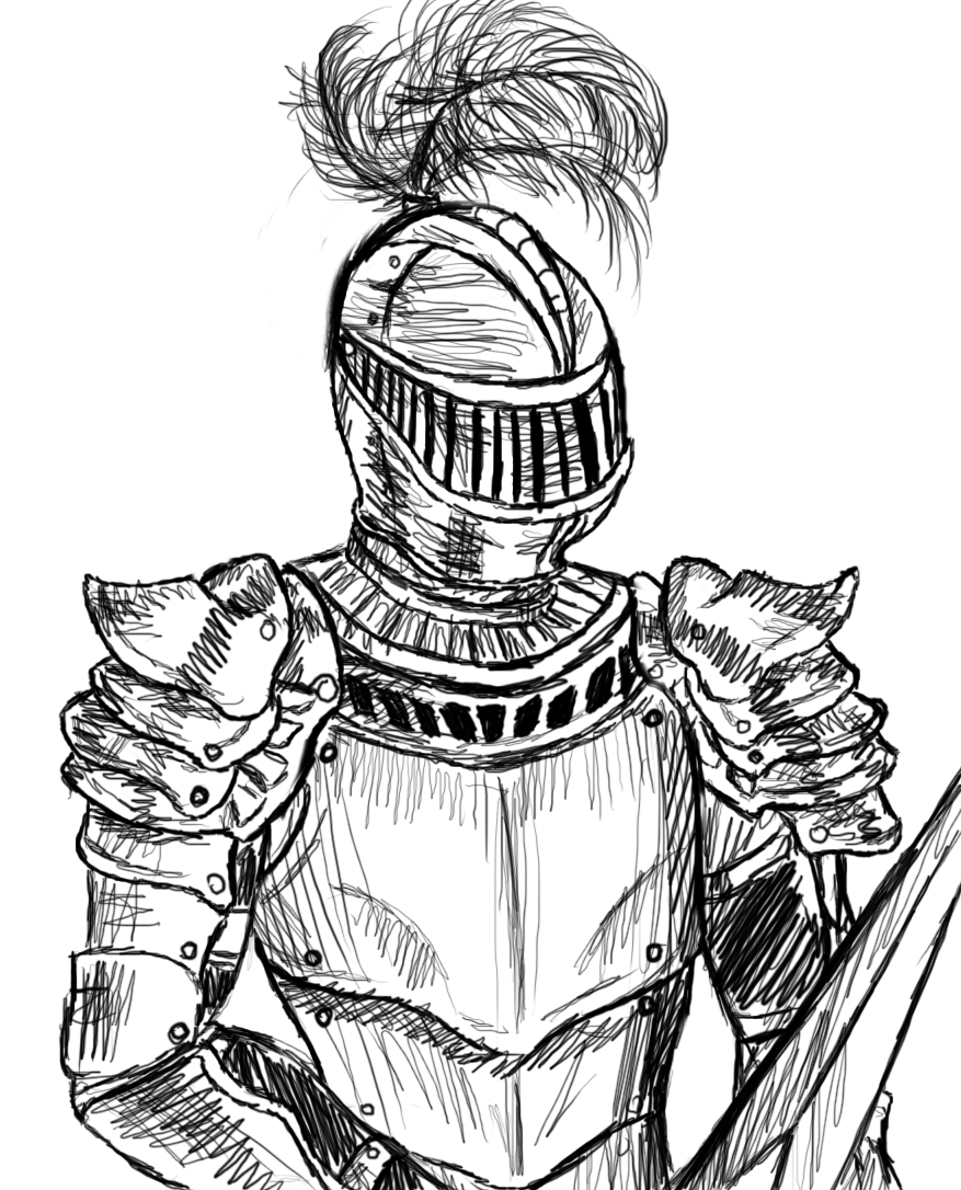 877x1086 Drawing Of A Knight
