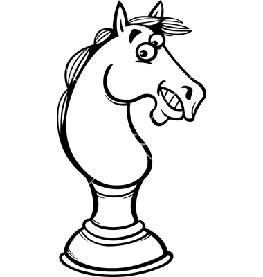 380x400 Horse Chess Cartoon Coloring Page Vector 1668243