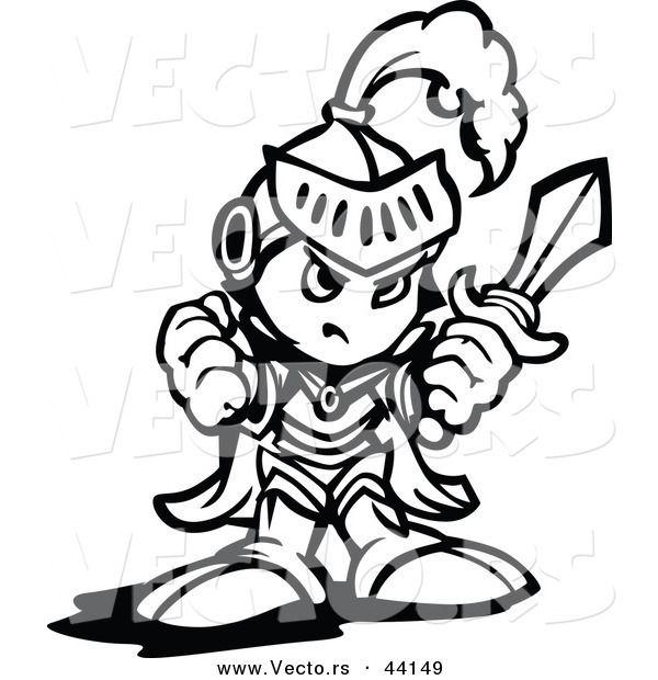 600x620 Vector Of A Tough Cartoon Knight Holding Up A Fist And A Sword