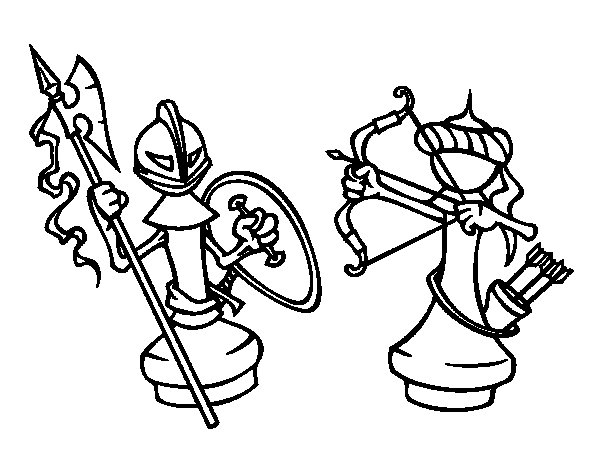 600x470 Chess Pieces Coloring Page
