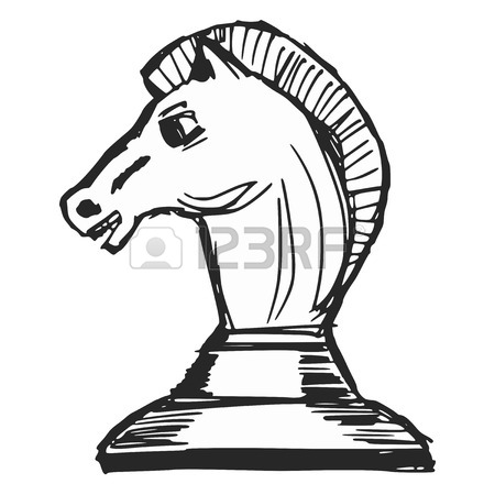 450x450 Hand Drawn, Sketch, Cartoon Illustration Of A Chess Figure Royalty