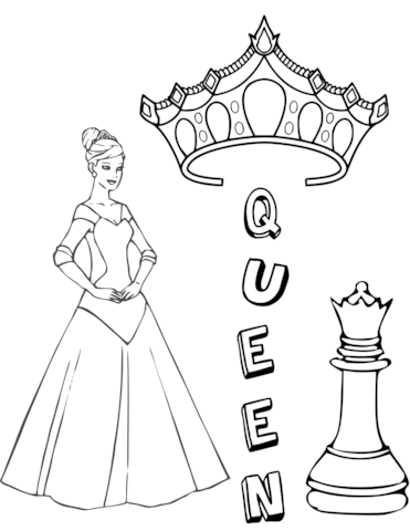 371x480 Queen Chess Piece Coloring Page Free Printable Coloring Pages