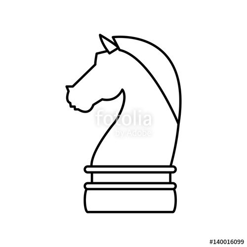 500x500 Knight Chess Piece Over White Background. Vector Illustration