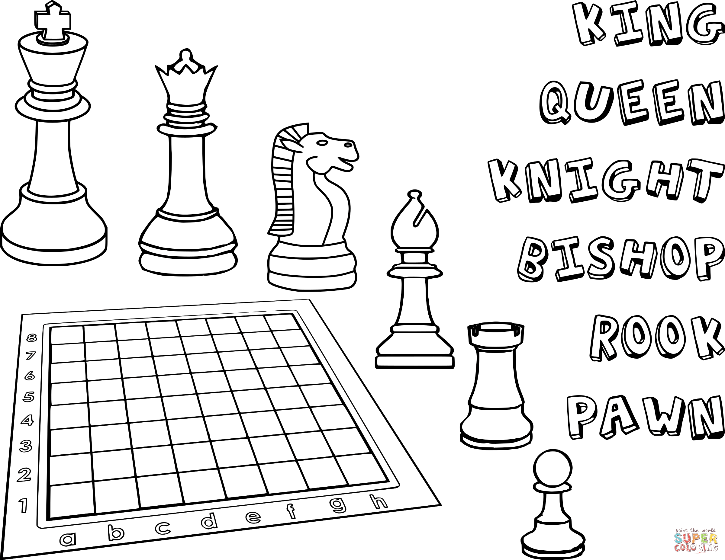 2400x1855 Chess Pieces Coloring Page Free Printable Coloring Pages