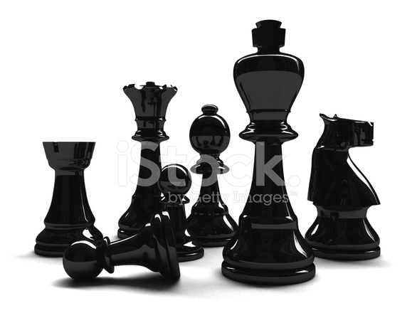 586x440 3d Mixed Black Chess Pieces Stock Photos