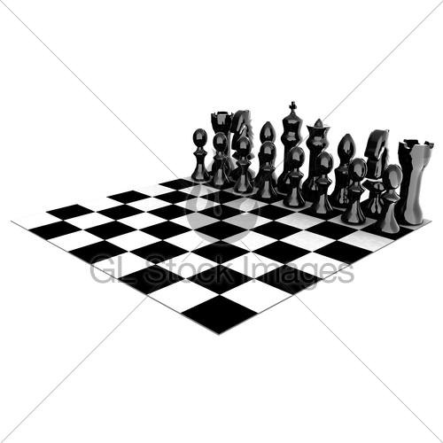 500x500 Chessboard With Chess Pieces Gl Stock Images