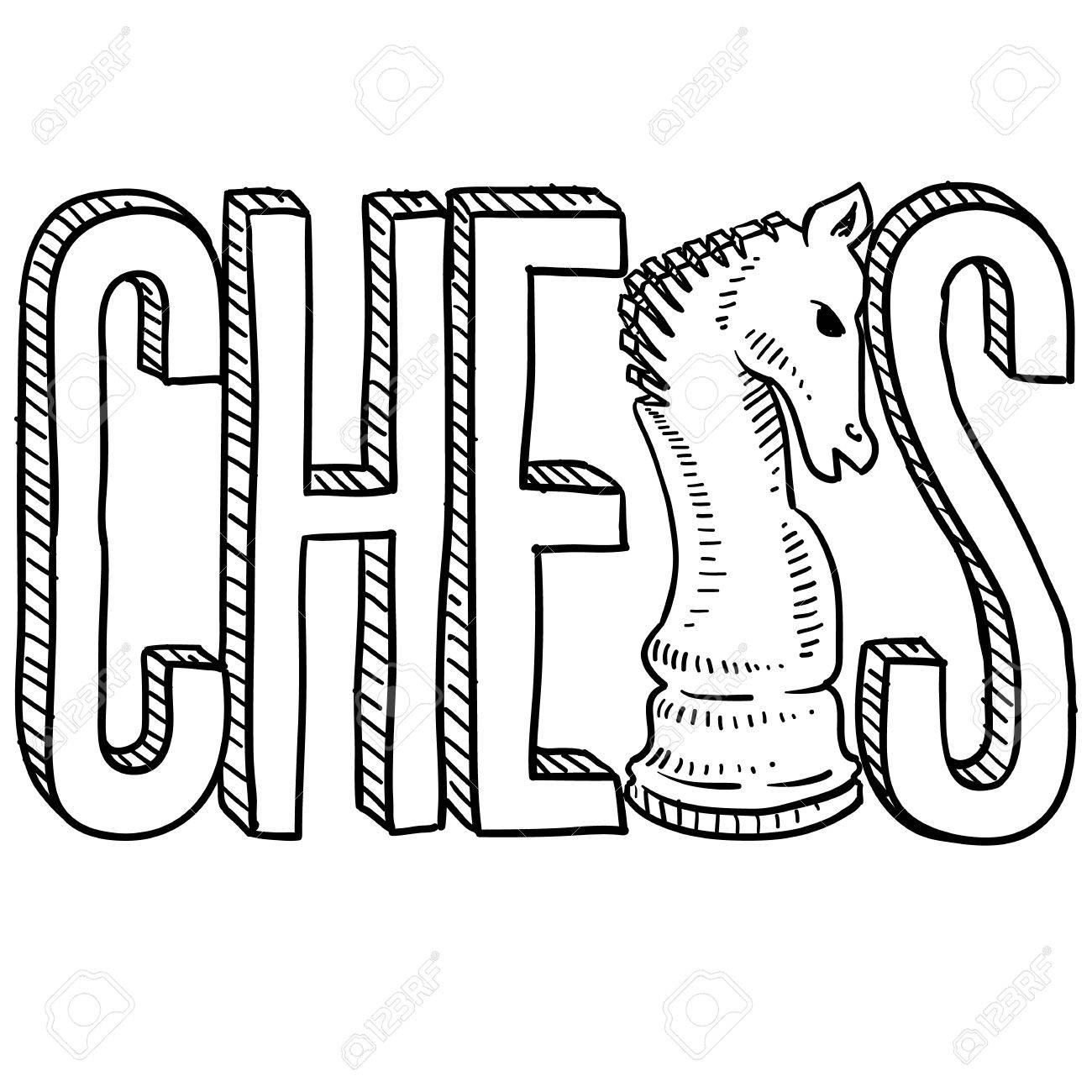 1300x1300 Doodle Style Chess Illustration In Vector Format Includes Text