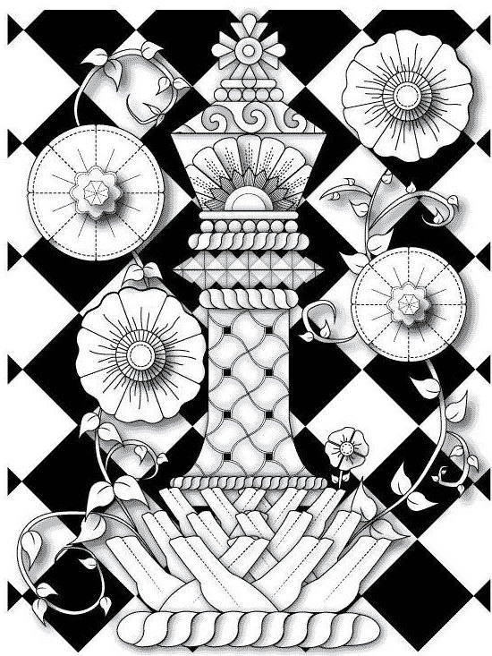 550x733 Fantasy King Chess Piece With Flowers And Vines Coloring Page