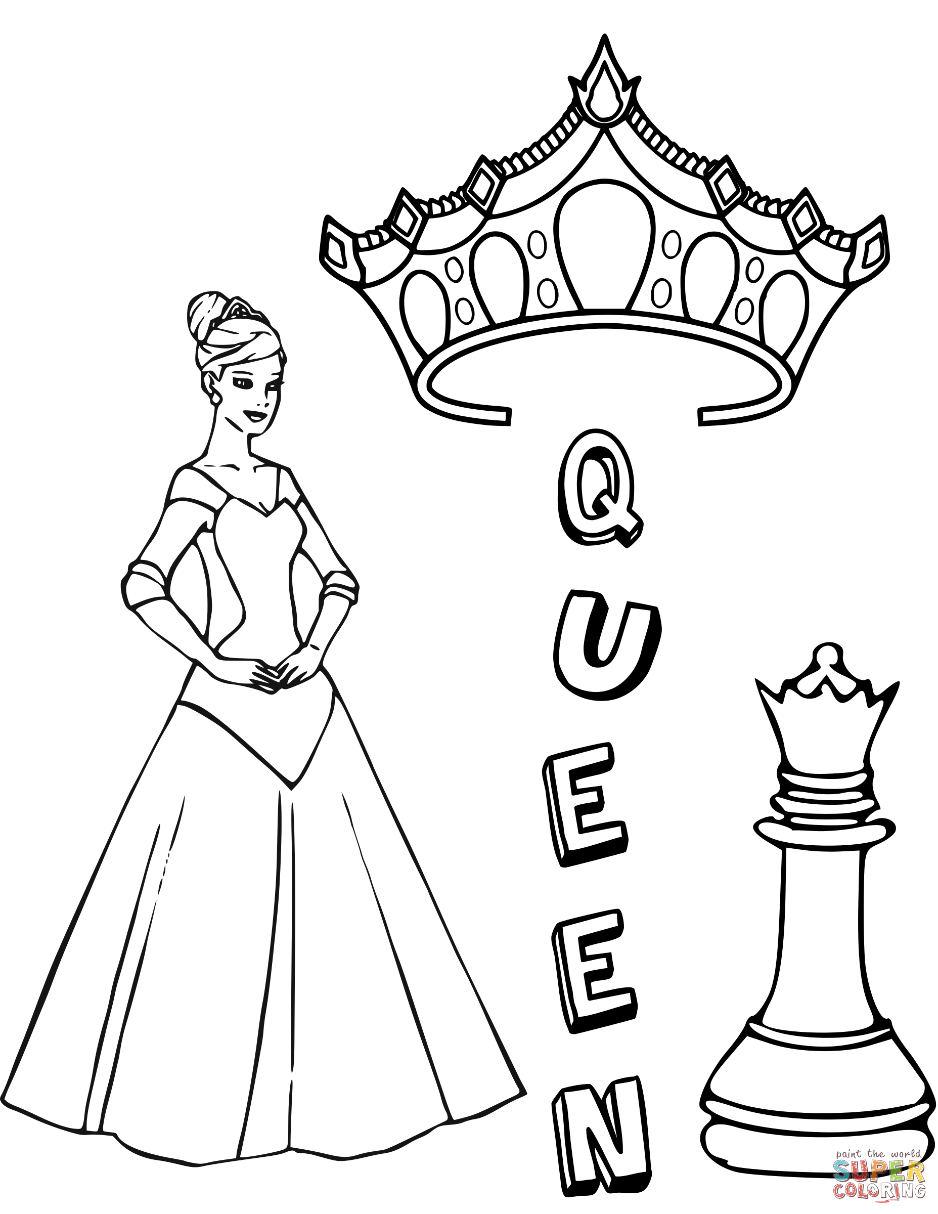 1855x2400 Queen Chess Piece Coloring Page Free Printable Coloring Pages