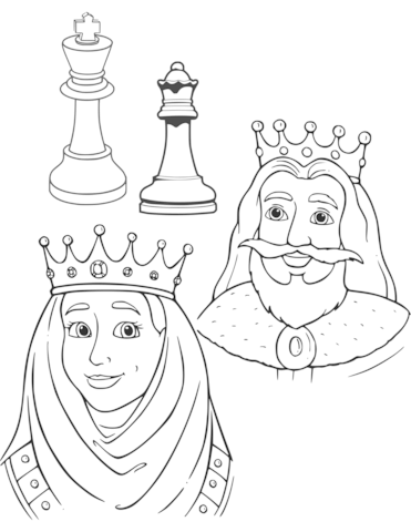 371x480 Queen And King Chess Pieces Coloring Page Free Printable
