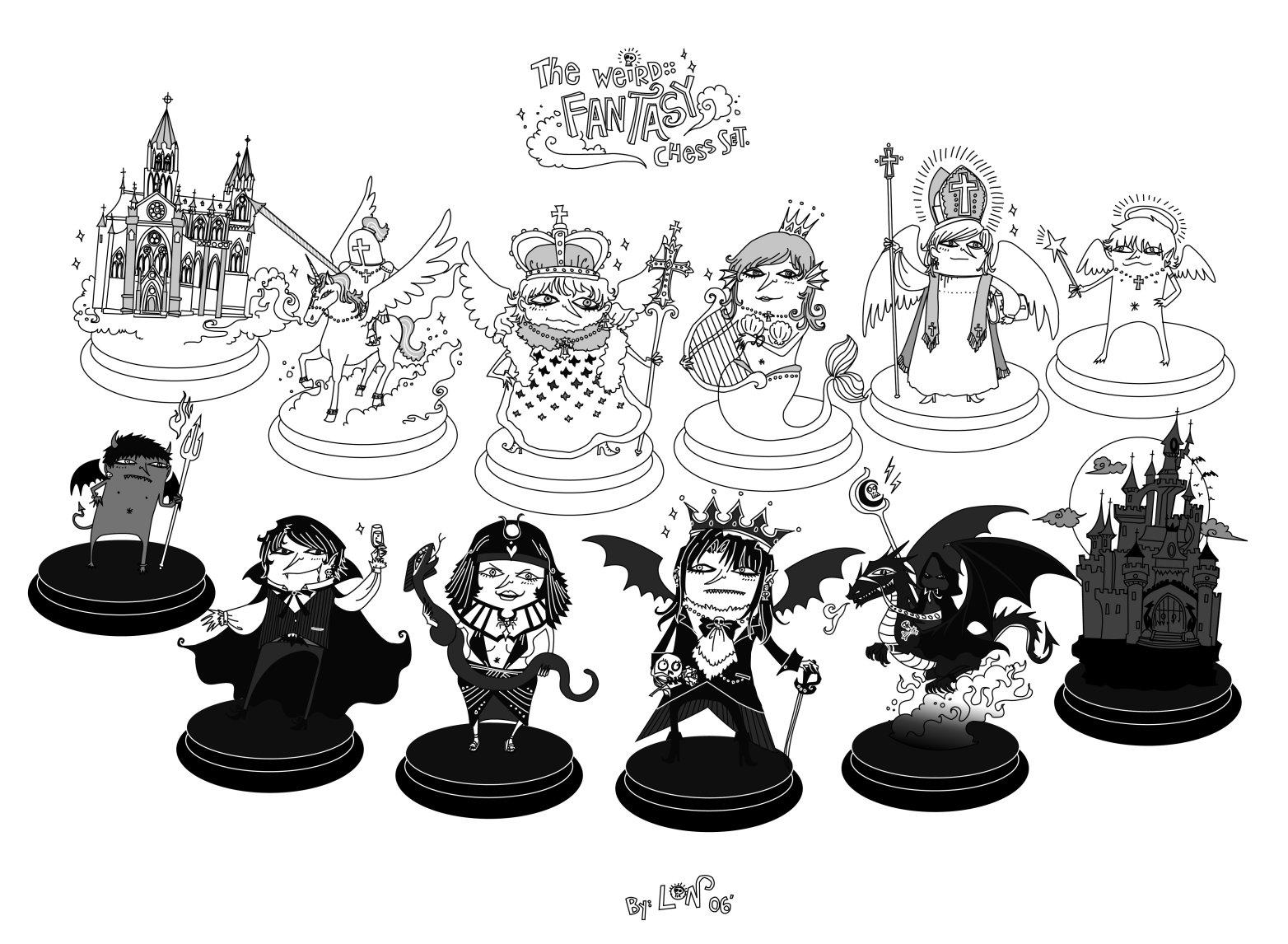 1564x1146 Weird Fantasy Chess Set By Monochrome Clown