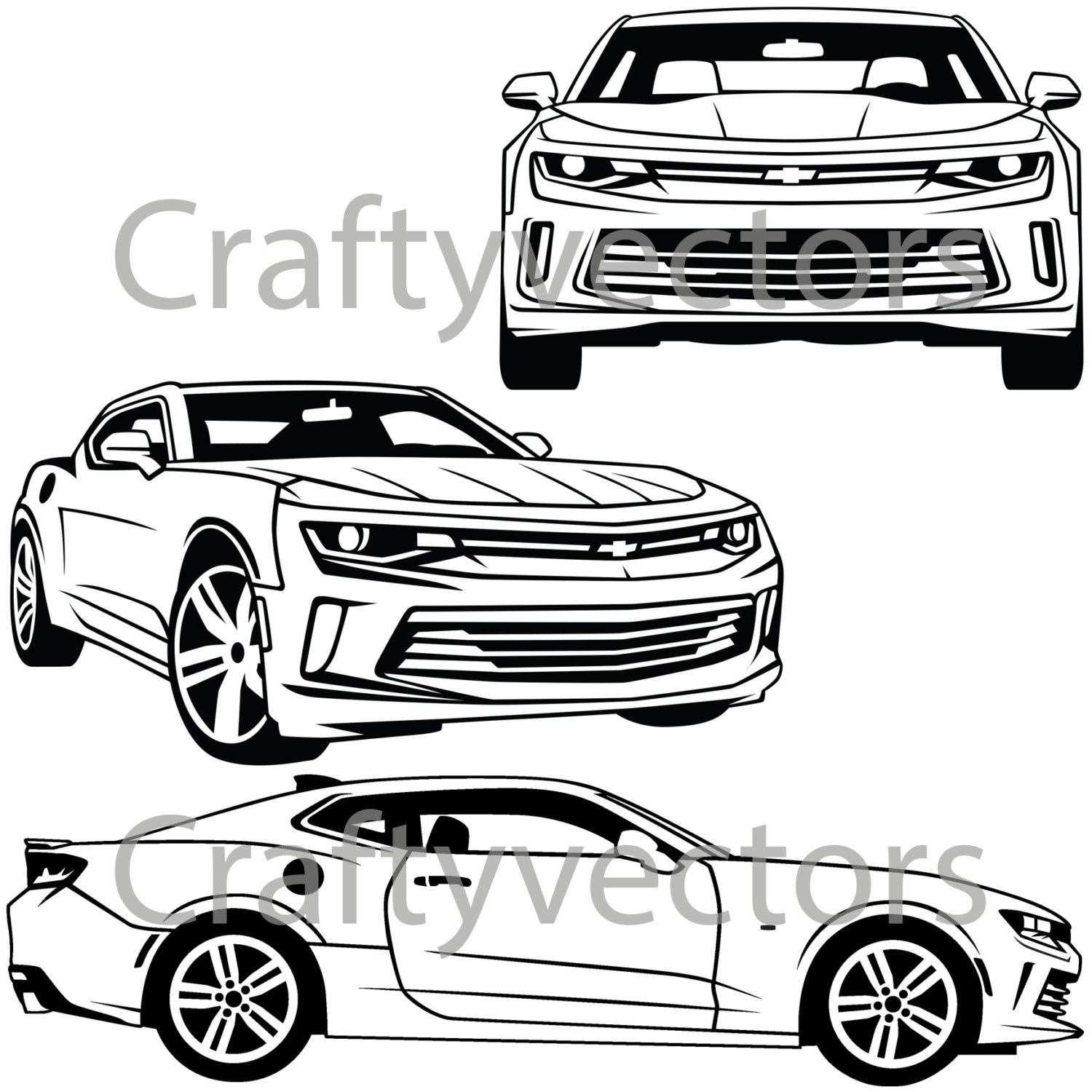 1500x1500 Chevrolet Camaro 2016 Vector Svg Cut File