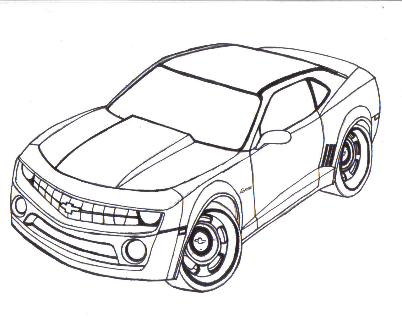 1280x1021 Chevy Camaro Line Art By Mister Lou