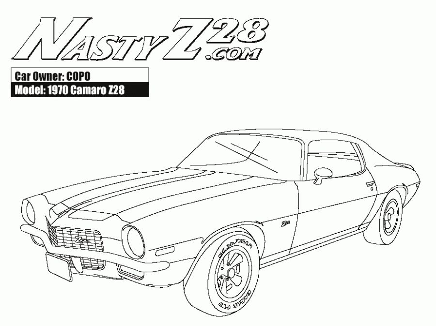 900x674 Online American Muscle Car Camaro Z28 Coloring Pages