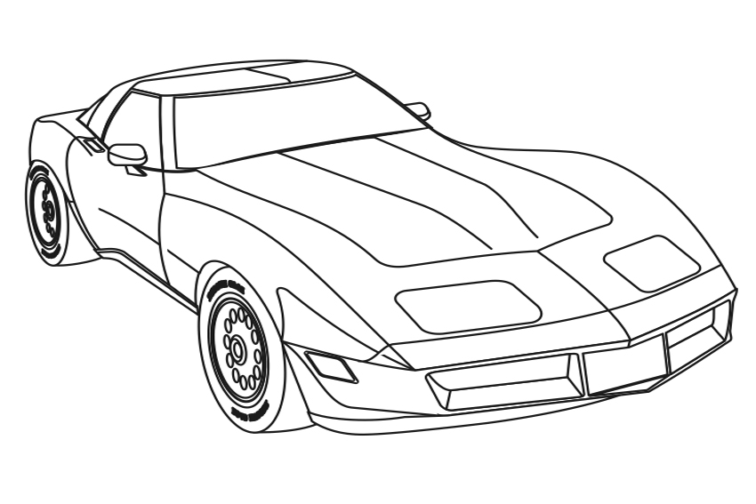 corvette coloring pages - chevrolet corvette drawing at free for