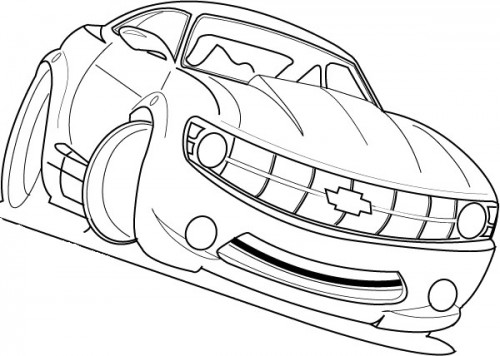 500x356 Racing Car Chevy Camaro Cool Coloring Page Coloring Pages
