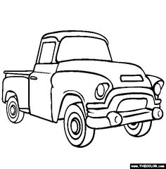 236x240 Two Cartoon Vintage Pick Up Truck Outline Drawings, One Red