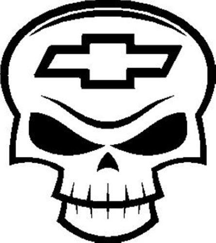 445x500 Chevy Chevrolet Bowtie Skull Head Dead Bones Mad Design Vinyl