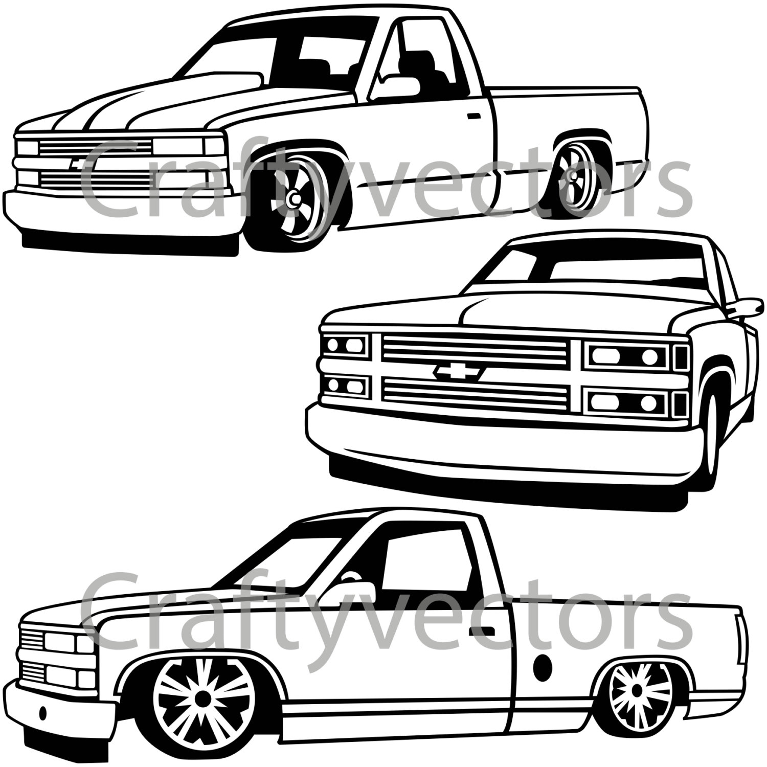 Chevy Truck Drawing At Free For Personal Use 1964 Grille 1500x1500 Lowered Custom Trucks