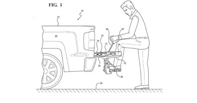 642x336 Chevy Patents Built In Tailgate Step For Trucks Rear View Safety