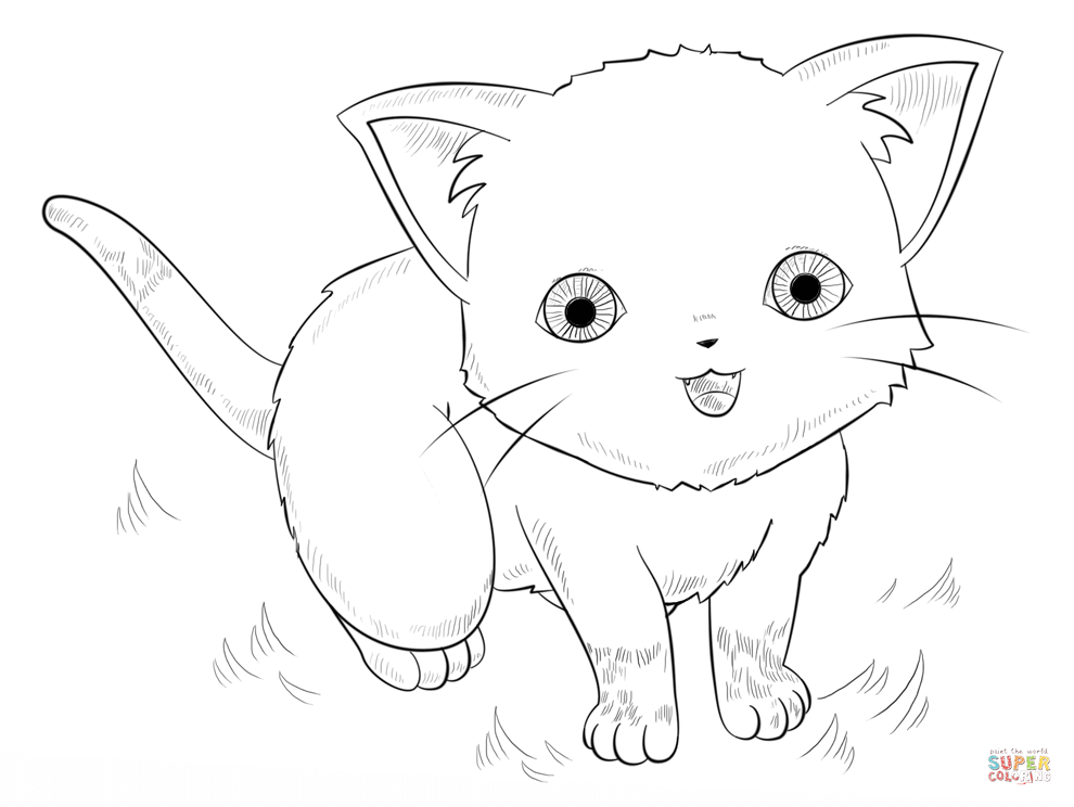 990x744 Anime Cat Coloring Page Free Printable Pages