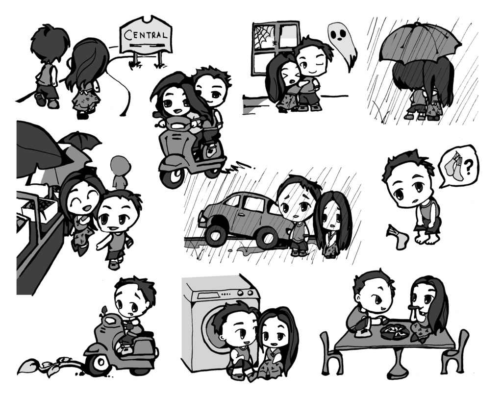 1024x810 Chibi Couple Illustrations Byewingart