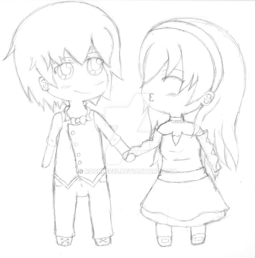 888x899 Chibi Couple By Rocklee12
