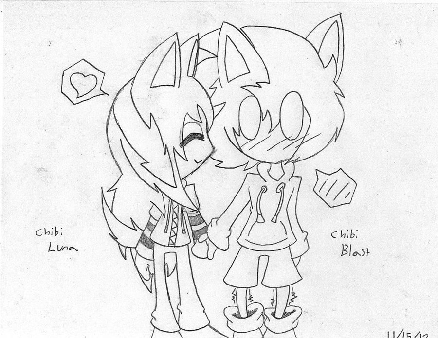 900x695 Chibi Couple (Line) By Adshedgehog