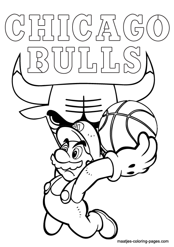 595x842 Chicago Bulls Benny The Bull Coloring Pages Chicogo Bulls