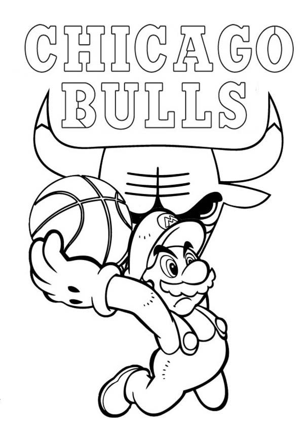 600x849 Super Mario Playing For Nba Chicago Bulls Coloring Page Color Luna