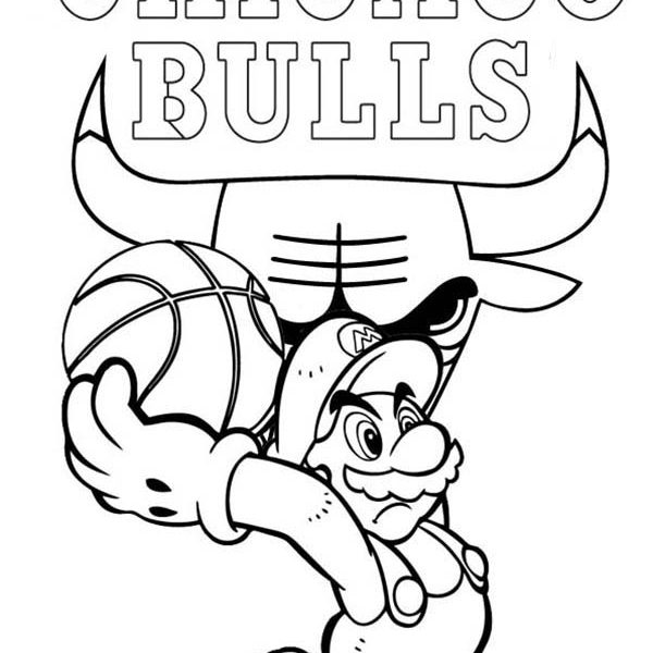 600x600 Chicago Bulls Coloring Pages Super Mario Playing For Nba Chicago