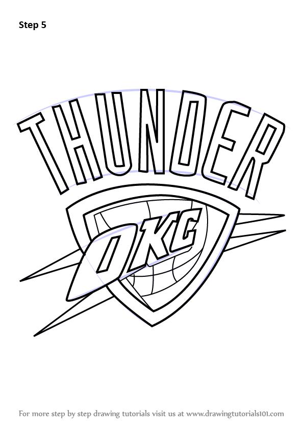 596x842 Learn How To Draw Oklahoma City Thunder Logo NBA Step By