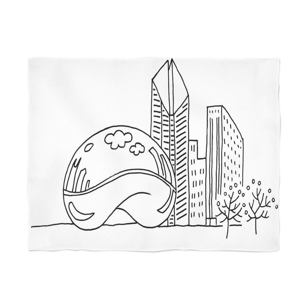 1024x1024 Chicago Line Drawing Products Fleece Throw