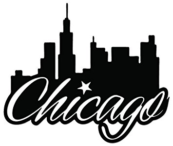 355x300 Chicago City Skyline Vinyl Decal Sticker For Vehicle