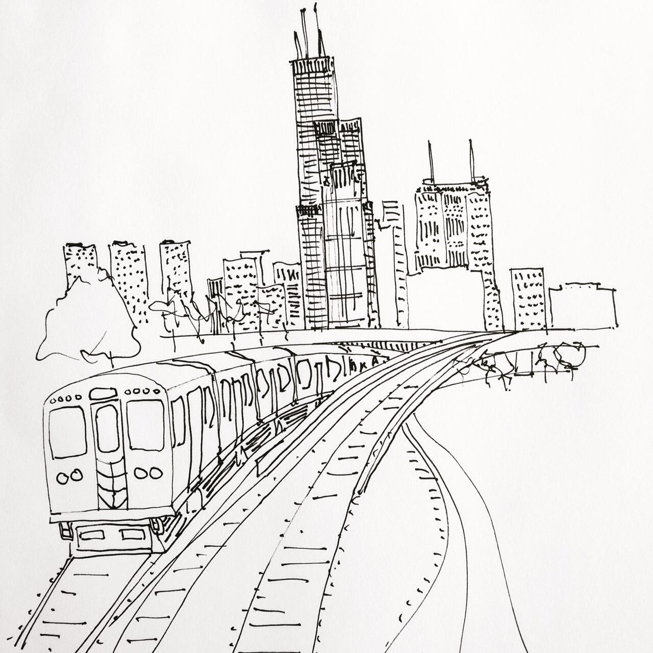 1280x1280 Sketchbook Art Of Chicago Skyline L Train Drawn In Pen