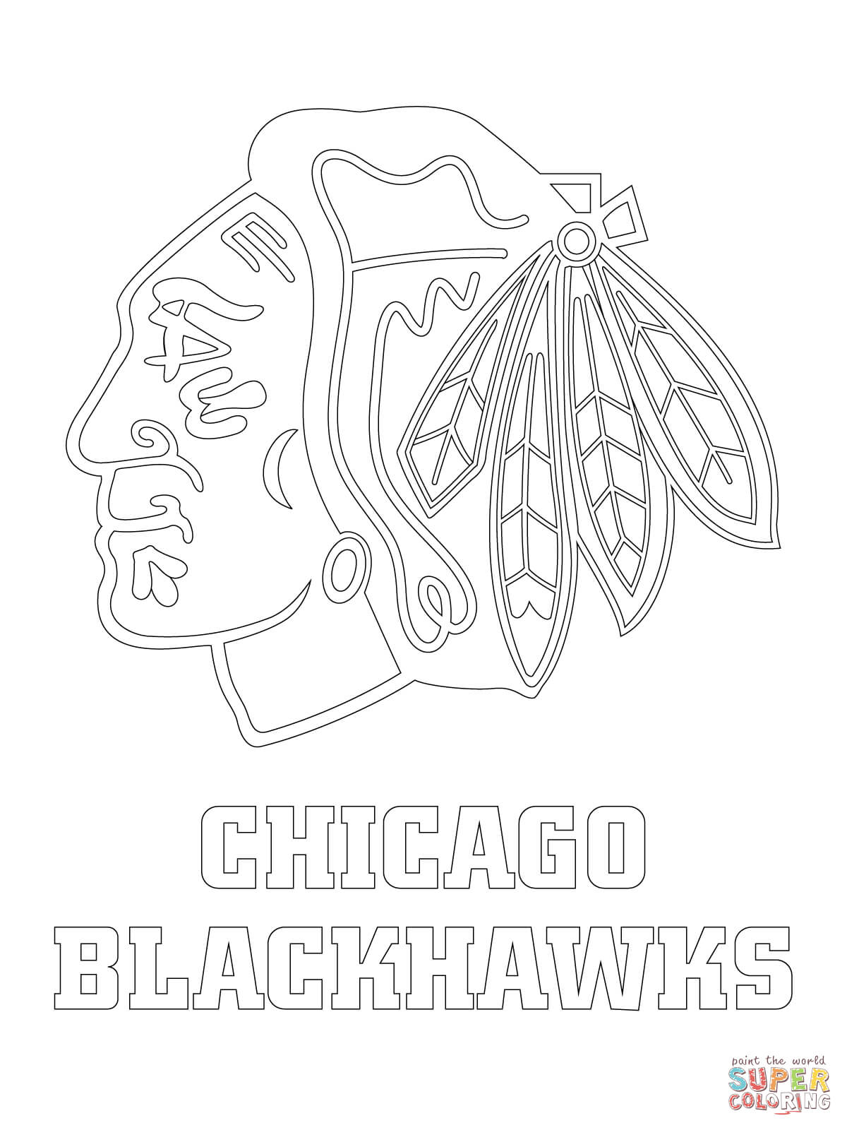 1200x1600 Chicago Blackhawks Logo Coloring Page Free Printable Pages