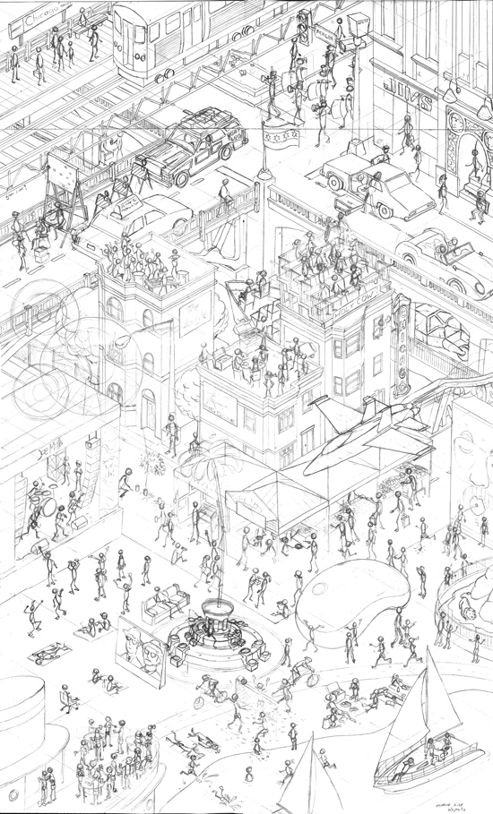 550x909 Summer In Chicago Finished Sketch Joe Mills