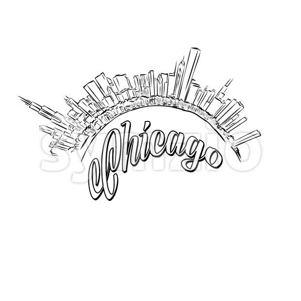 620x620 Chicago Skyline Logo Sketch Vector Illustration 140640