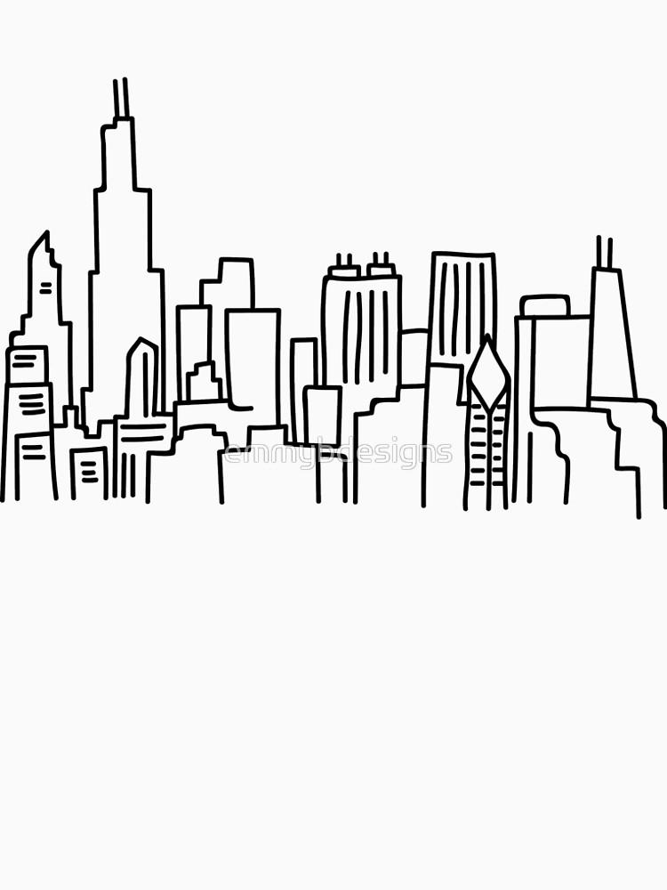 750x1000 Chicago Skyline Outline Men's Premium T Shirt By Emmybdesigns