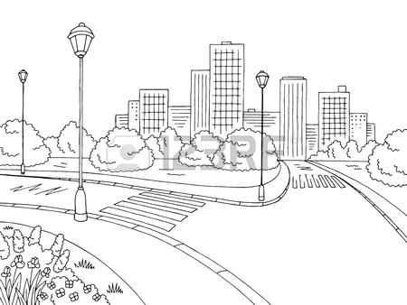 450x338 Park Lake Graphic Black White Landscape Sketch Illustration Vector