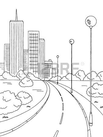 338x450 Street Road Graphic Black White City Landscape Sketch Vertical