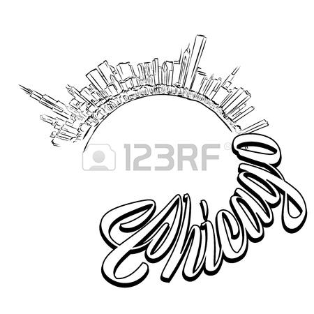 450x450 524 Chicago Skyline Silhouette Stock Vector Illustration